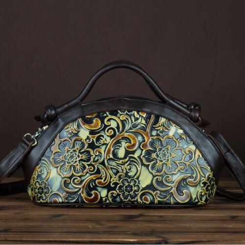 Women Handbag Genuine Leather Retro Floral Embossed Crossbody Shoulder Tote Bag