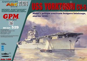 Aircraft carrier USS Yorktown (CV-5) 1 200 paper model kit 123cm long