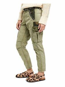 Free People 148 Para Mujer Nuevos Pantalones Tipo Cargo De Camuflaje Verde Bordado 4 B B Ebay