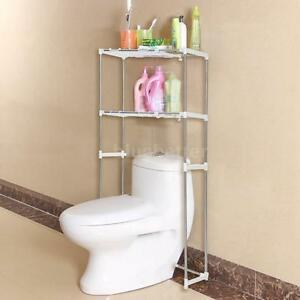 Bathroom space saver storage cabinet over the toilet shelf metal rack towel s8h6 for Metal bathroom storage cabinet
