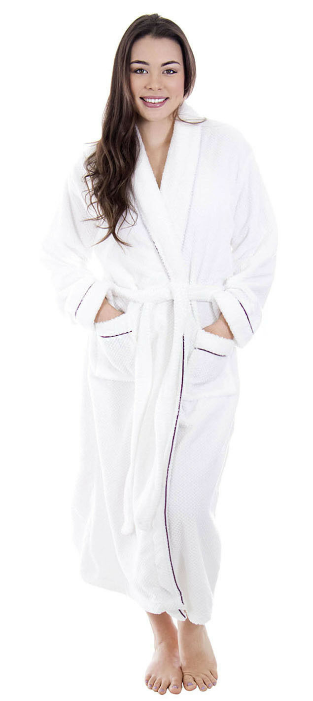 Unisex Men Women Bathrobe Luxury Soft Plush Collar Robe Bathrobe Sleepwear