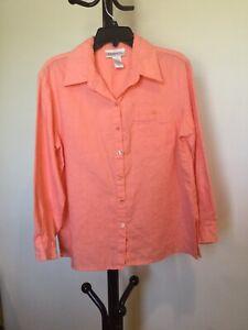 New-Women-s-Chadwick-s-Button-Long-Sleeve-100-linen-Salmon-Top-Shirt-Size-12P