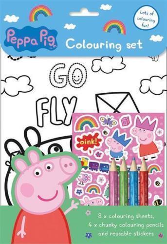 Peppa Pig Colouring Set Art /& Craft Pencils /& Stickers Travel Activity Book