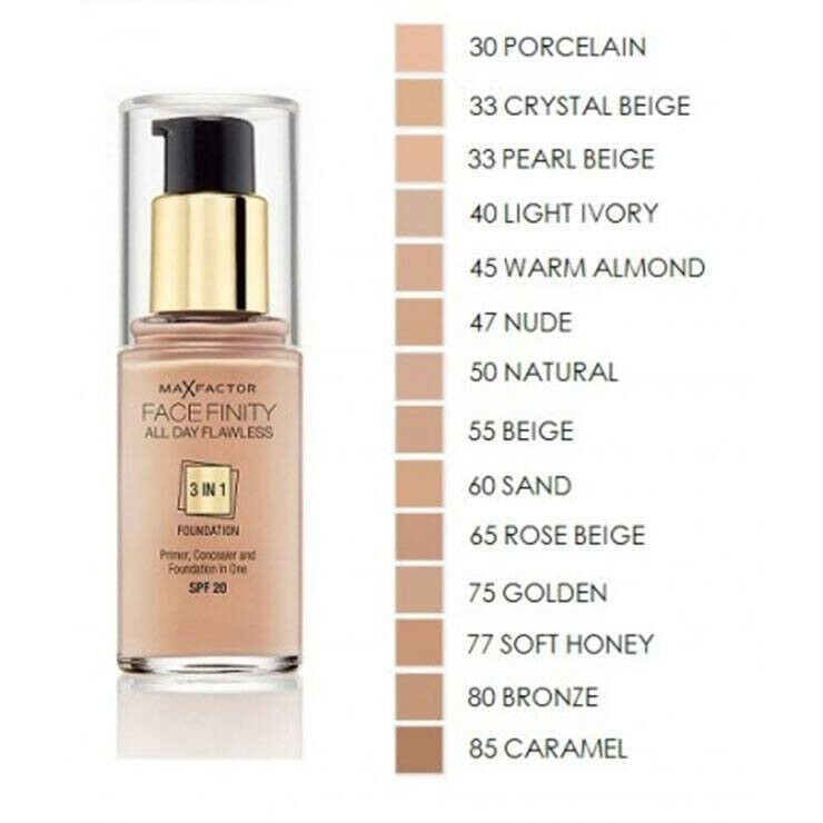 Max Factor Facefinity 3 in 1 Flawless Foundation SPF 20 30ml ...
