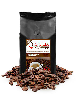 1kg Sicilia Coffee ESPRESSO DI LUSSO Fresh Roasted Coffee Beans, 100% Arabica