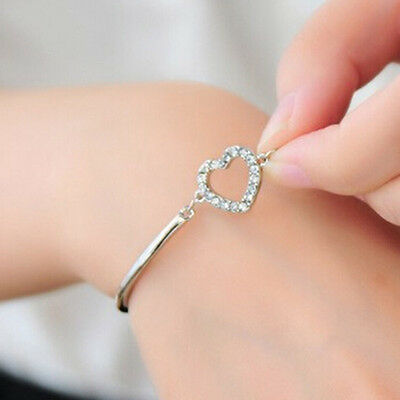 Jewelry Fashion Opal Crystal Rhinestone Heart Charm Bracelet Cuff Bangle Gift
