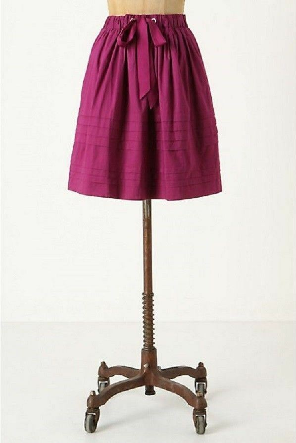 128 anthropologie odille DRAWING PARALLELS magenta pink tiered SKIRT small