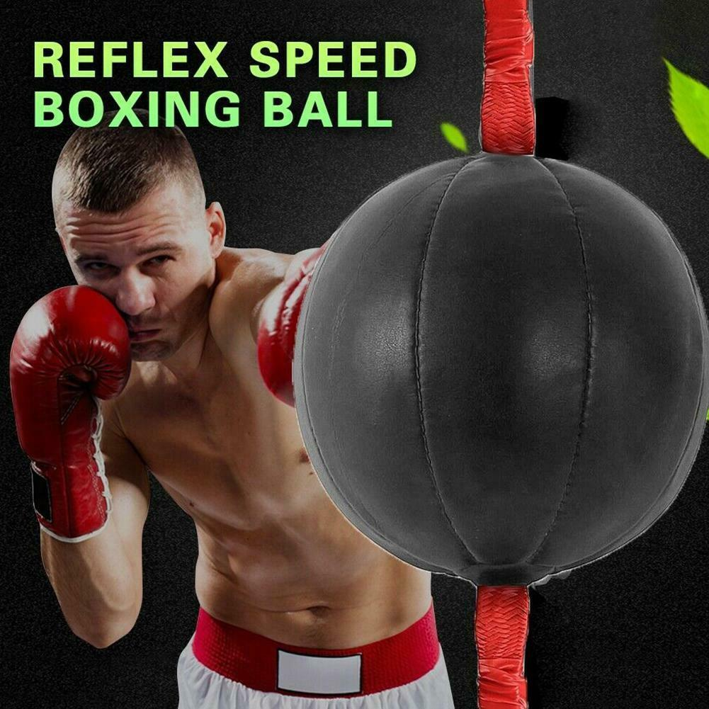 Boxing Punching Bag Speed Ball Training Mma Punch Double End Leather Reflex Set