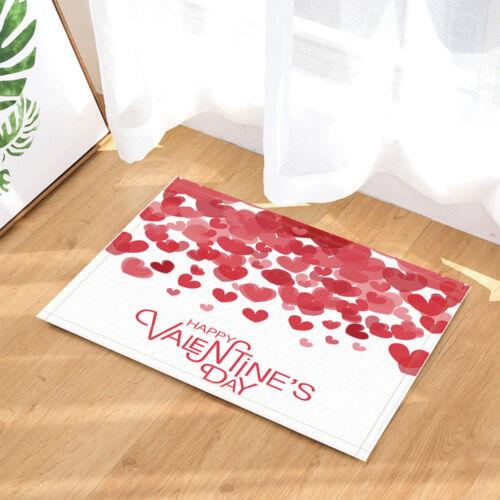 Valentine/'s Day Heart  Flower Non Slip Flannel Shower Rug Warm Carpet Bath Mat