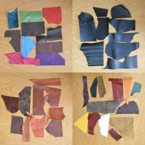LEATHER COWHIDE OFF-CUTS CRAFT PACK 1 KILO 1.6-2.2 MM ASSORTED COLOURS