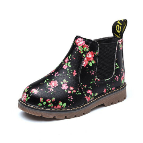 Child Kids Boys Girls Floral Print Chelsea Martin Ankle Boots Toddler Flat Shoes