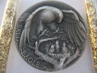 1-OZ .925 LONGINES STERLING SILVER DETAILED BALD EAGLE 3D HIGH RELIEF COIN+GOLD