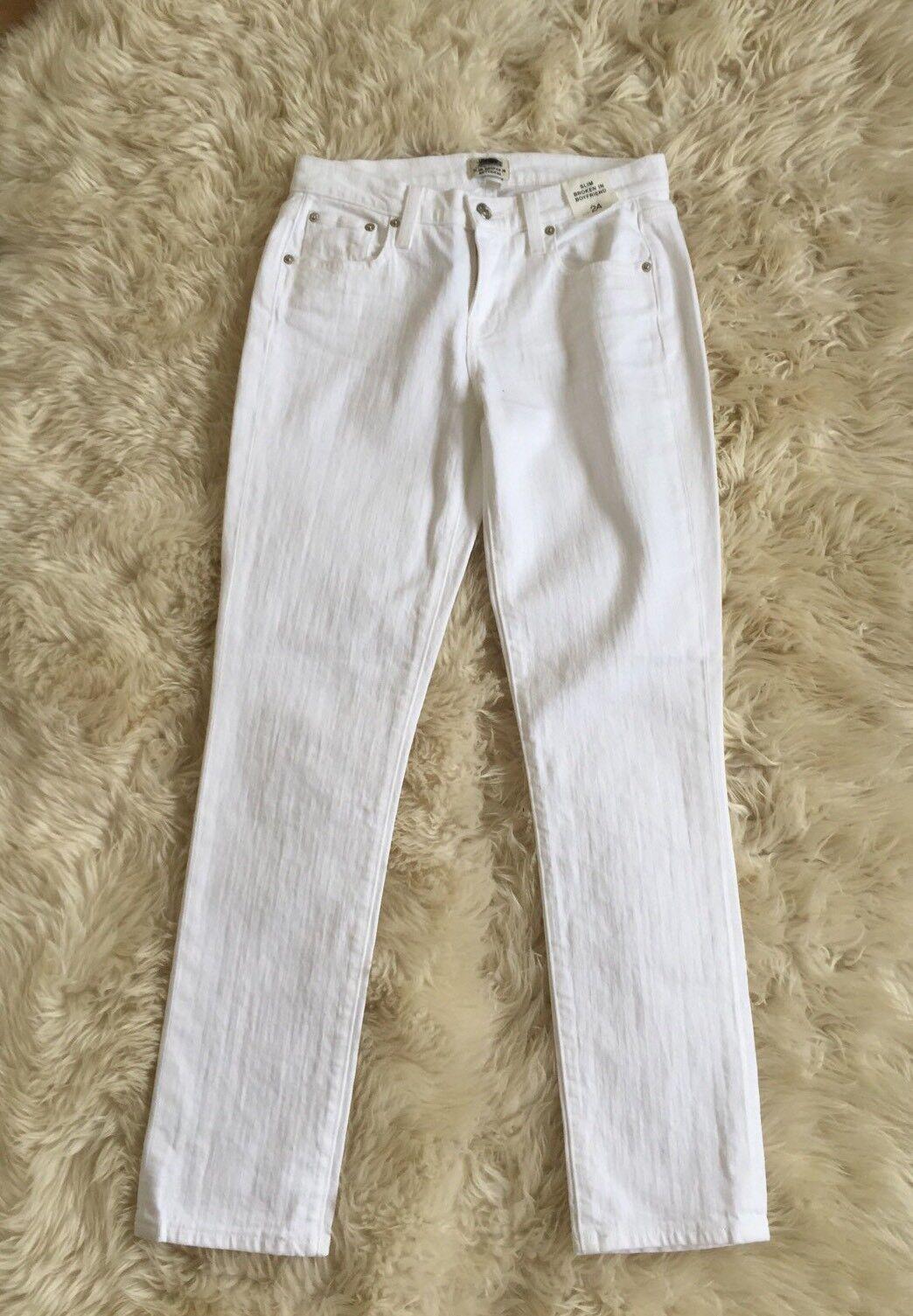 New JCREW Slim broken-in boyfriend jean in white Sz 24 C1008  110 SUMMER 2017