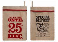 Large Father Christmas Santa Sack Vintage Hessian Jute Stocking Bag Gift Present