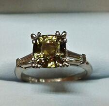 ESTATE PLATINUM UNHEATED 4.03 CARAT SAPPHIRE AND DIAMOND RING