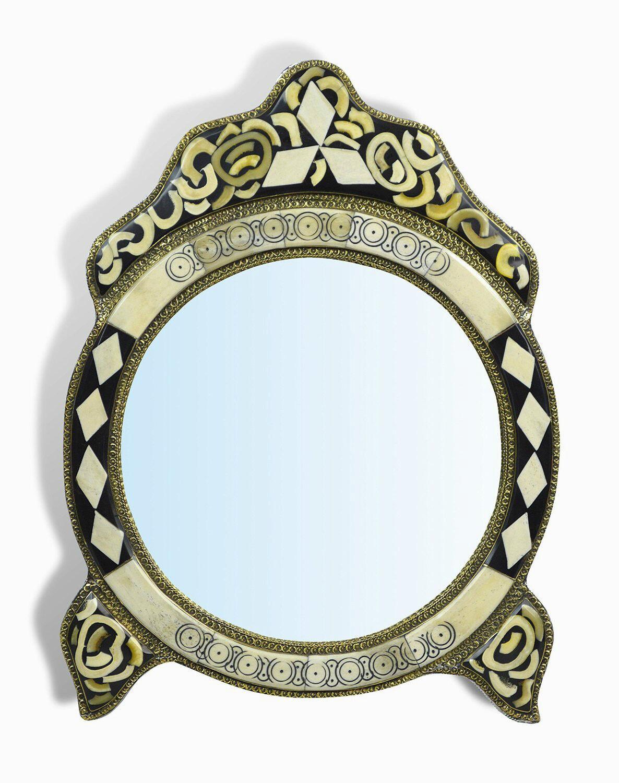 Medium Ornate Round MGoldccan Mirror with diamonds insert & legs - Weiß Henna