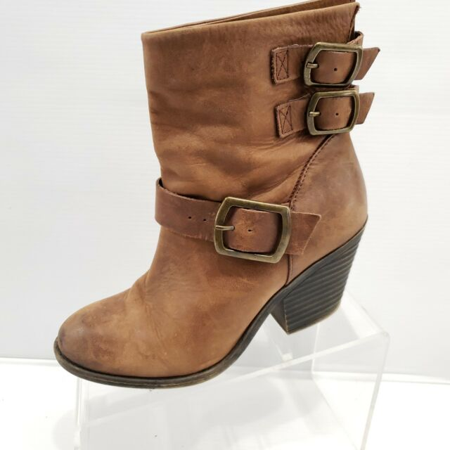 8769a84f567 Lucky Brand Tommie Whiskey Distressed Leather Brown Ankle Boots Size ...