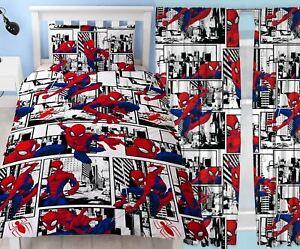 """Spiderman 'Metropolis's SINGOLO PIUMONE & TENDE abbinati letto Set 54"""" o 72"""" GOCCIA"""