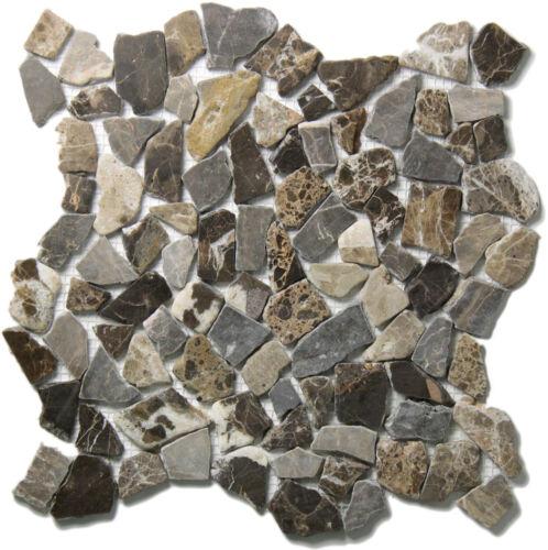 Polygonal Bruchmosaik Castanao Braun Marmor auf Netz 30,5x30,5 cm