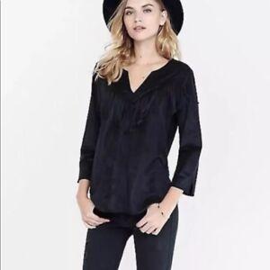 Express-Women-039-s-Faux-Suede-Western-Fringe-Black-V-Neck-Top-Size-L