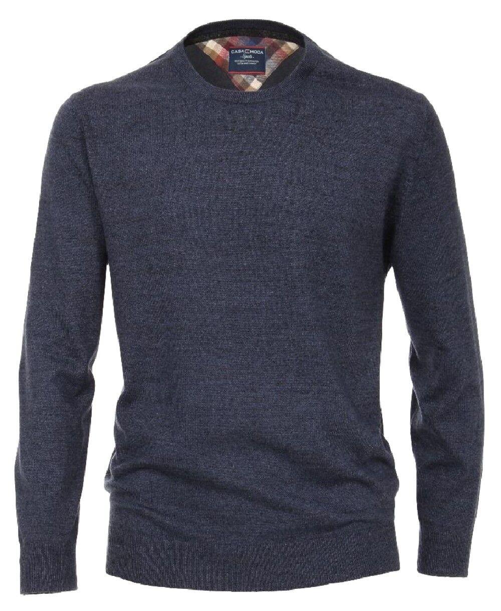 Casa Moda Sports Rundhals Pullover in blau dunkelgrau melange Gr. M bis 6XL