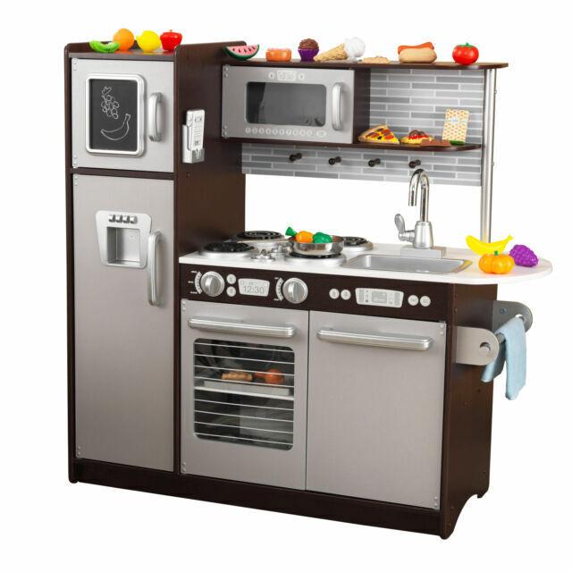 Kidkraft 53388 Uptown Espresso Kitchen With 30 Piece Play Food For Sale Online Ebay