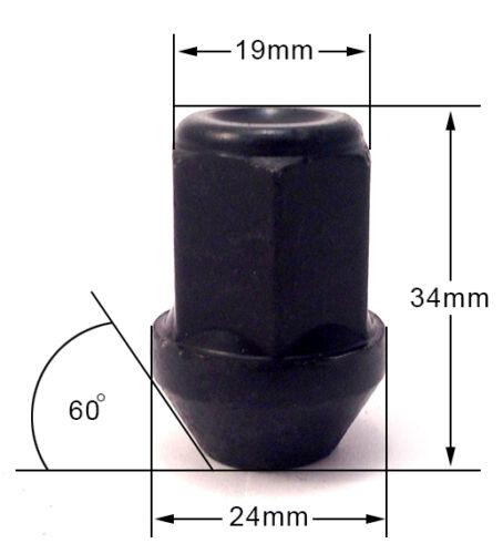 conique alliage écrous de roue en noir pour VOLVO 19 mm Hex Lot de 16 X M12 X 1.5