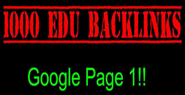 Premium 1,000 EDU Link Building SEO Domain Backlinks 1st Page of Google!