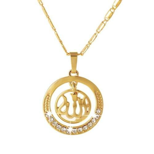 Islamic Religious Arabic Allah Silver Plated Circle Pendant Necklace Jewelry