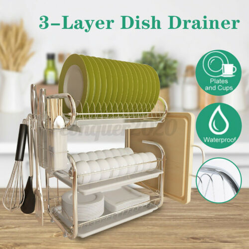 Dish Cup Drying Rack Holder Sink Drainer 3 Tier Dryer Stainless Steel Space