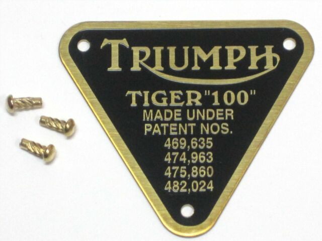 Triumph patent plate BRASS Tiger 100  UK Made with rivets timing cover badge