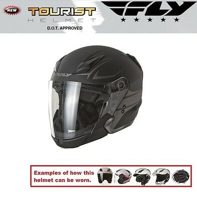 Fly Racing Tourist Multi Style Vista Flat Black Helmet Includes a Tinted Visor