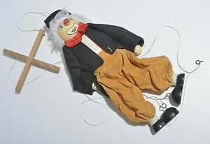 Clown-Pull-String-Puppet-Wooden-Marionette-Joint-Activity-Doll-Kids-Toy-Vintage