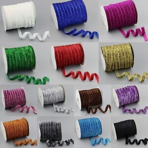 "wholesale 50-200Yards 3//8/""10mm Sparkle Glitter Velvet Ribbons Headband Clips Bow"