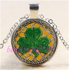 Gold Shamrock And Celtic Knots Cabochon Glass Tibet Silver Pendant Necklace#CA39