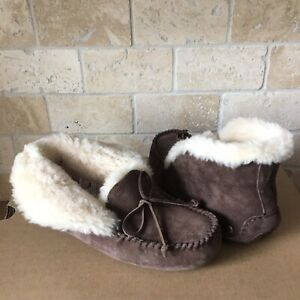 b50423398a4 Details about UGG Alena Slippers Moccasins Espresso Suede Sheepskin Size US  6 Womens