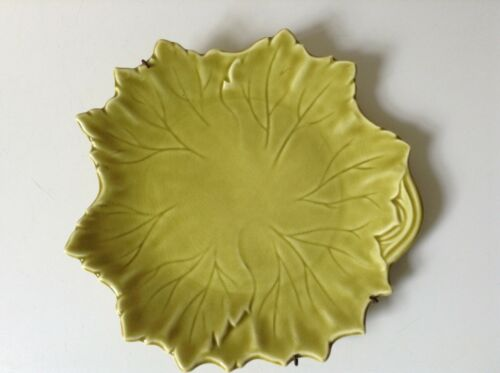 VTg., Stubenville Woodfield Leaf Russell Wright Plate in gold Color 8.75""