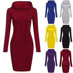 Womens-Long-Sleeve-Hooded-Sweatshirt-Winter-Pullover-Jumper-Hoodies-Midi-Dress