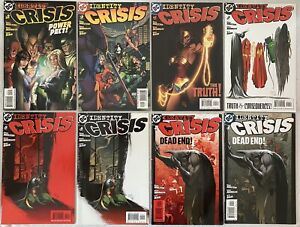 Lot-Of-8-Identity-Crisis-2-3-4-5-6-7-Set-Run-2-7-2-Variant-5-6-RED-COVER-VF