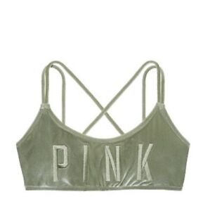 9a1a3ed120f557 Image is loading Victoria-s-Secret-PINK-Embroidered-Strappy-Velvet-Scoop-