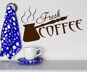 Wall Stickers Fresh Coffee Shop Time Cezve Kitchen Art ...