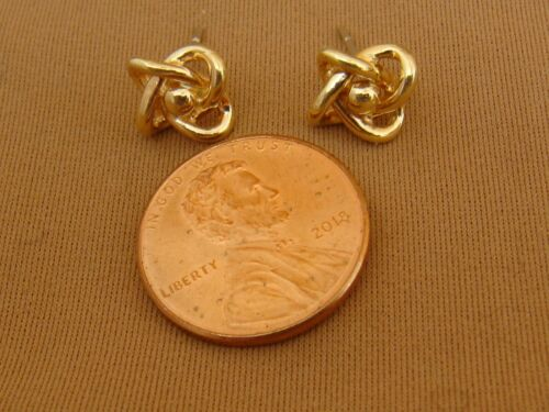 Details about  /14K Yellow Gold KNOT Pierced Post Stud Earrings Love