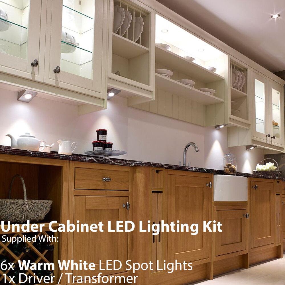6x 2.6 W LED Spot Luz y controladores de cuña de Cocina Kit-Acero Inoxidable-blancoo Cálido
