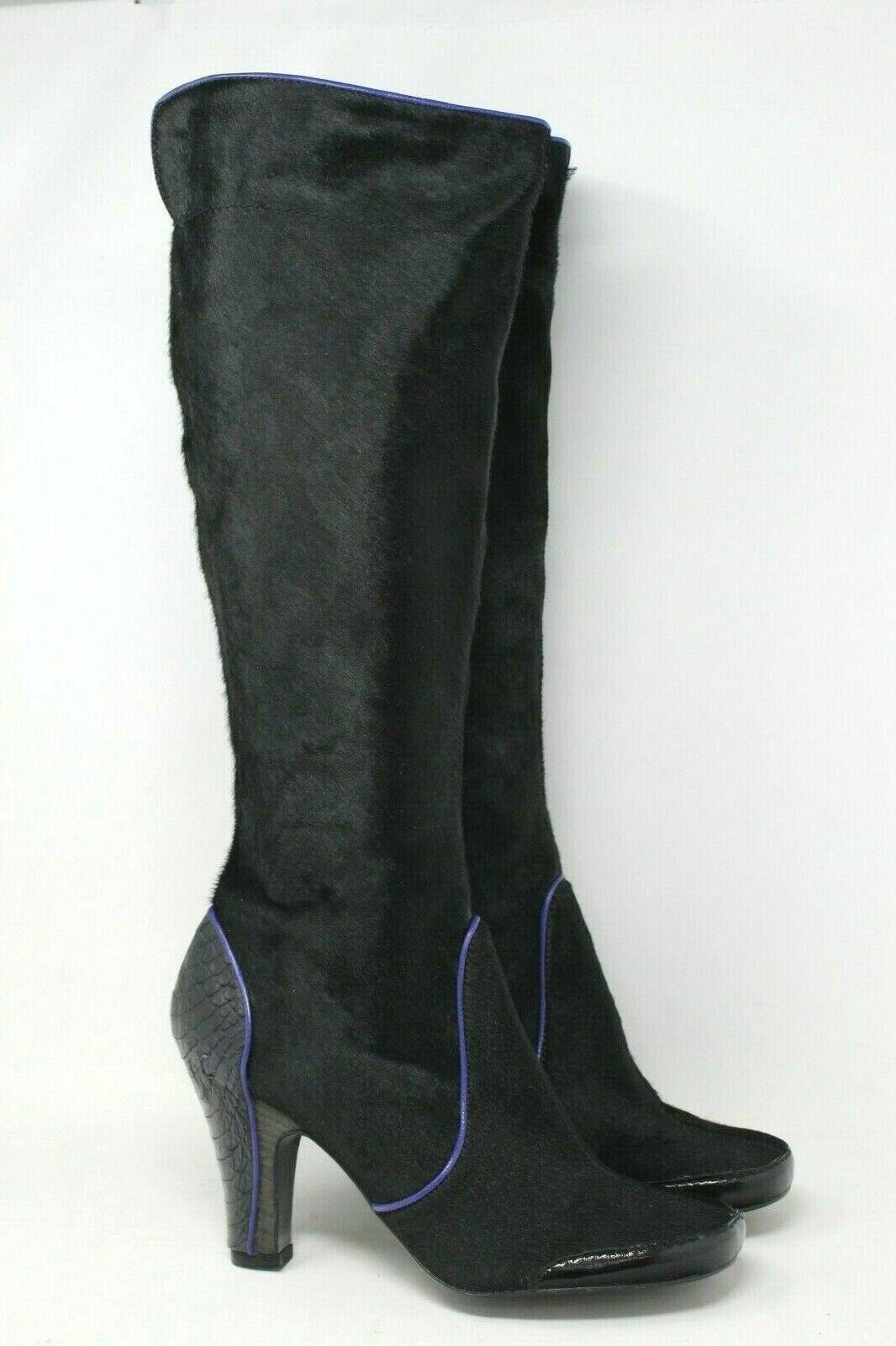 BCBGMAXAZRIA Calf Hair Knee High Boot in Black Size  40 NEW