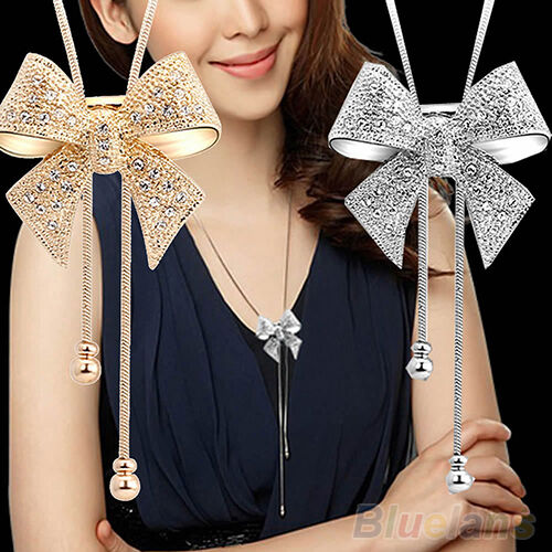 Luxury Crystal Bowknot Pendant Long Necklace Rhinestone Butterfly Sweater Chain