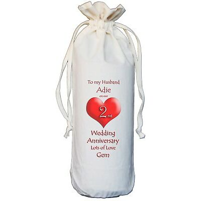 PERSONALISED - 2ND WEDDING ANNIVERSARY TO MY HUSBAND - COTTON WINE BOTTLE  BAG