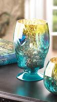Teal Blue Peacock Mercury Glass Tall Pedestal Candle Holder Wedding Centerpiece