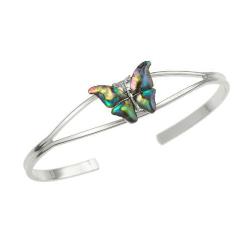 Brazalete de mariposa moda para mujeres Plata Paua Abalone Shell Joyas Regalo en Caja