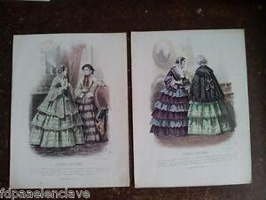 Moda Parisina 2 LITOGRAFIA Acuarelada Antigua Siglo XlX Dibujo Grabado Viejo