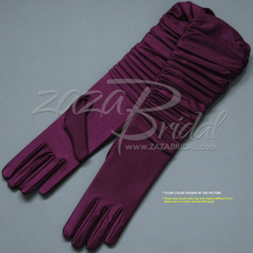 Various Colors Gathered 4-Way Stretch Matte Finish Satin Gloves 14BL
